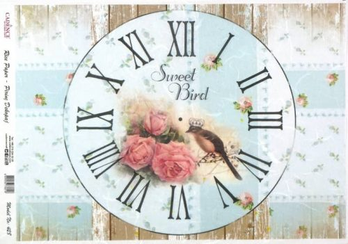 Rice Paper - Shabby Sweet Bird Clock