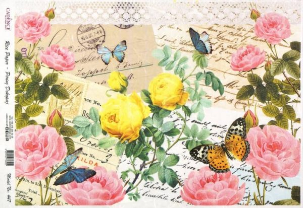 Rice Paper - Colorful Roses on Cards