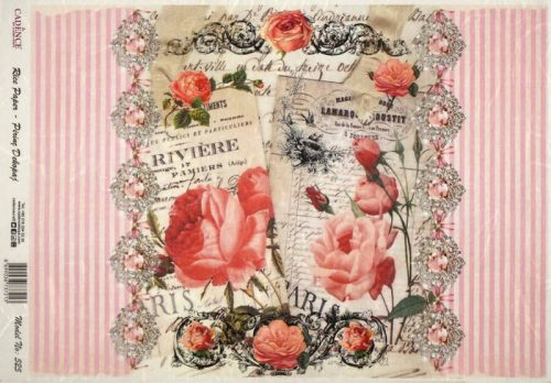 Rice Paper - Red Roses on Pink