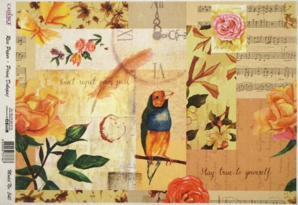 Rice Paper - Flowers Bird Collage