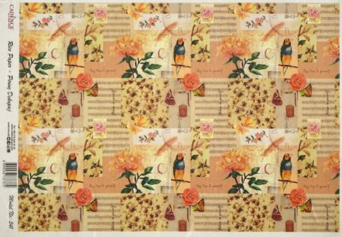 Rice Paper - Flowers Bird Collage 2