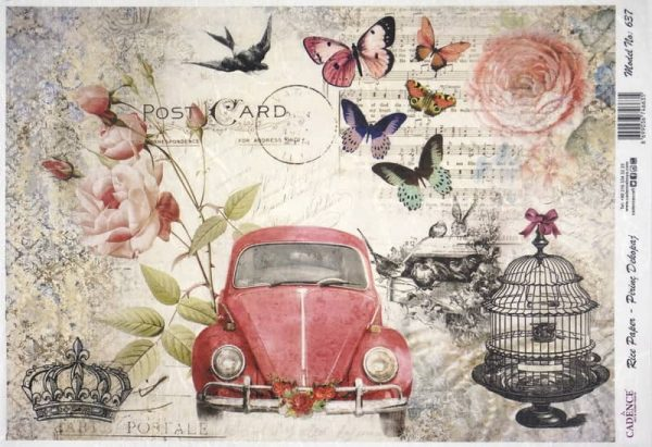 Rice Paper - Post Card with red car