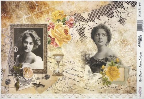 Rice Paper - Ladies with yellow roses