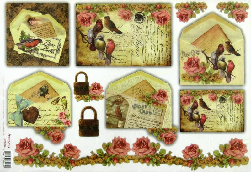 Rice Paper - Post Cards Birds & Roses