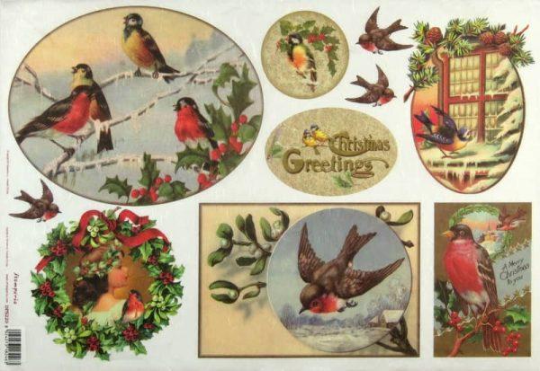 Rice Paper - Christmas Greeting Birds