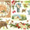 Rice Paper - X-mas Fawn and Clock