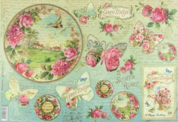 Rice Paper - Butterfly Greetings with Clock
