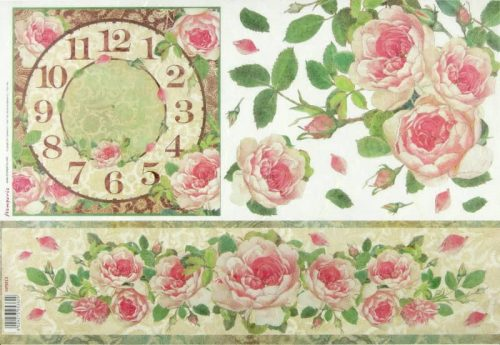 Rice Paper - Clock with Roses