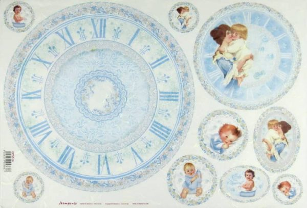 Rice Paper - Baby Light Blues with Clock