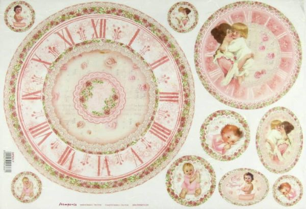 Rice Paper - Baby Pink with Clock
