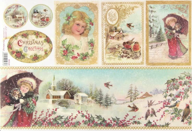 Rice Paper - Christmas Greetings Girl with Umbrella