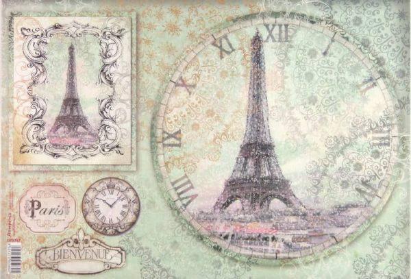 Rice Paper - ParisTour Eiffel Clock