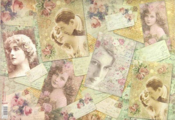 Rice paper - L'amour vintage postcards