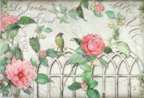 Rice Paper - Garden with Roses and Bird