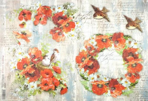 Rice Paper - Poppies and Birds
