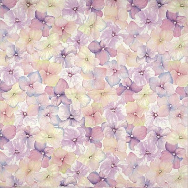 Paper Napkin - Pink hydrangea pattern