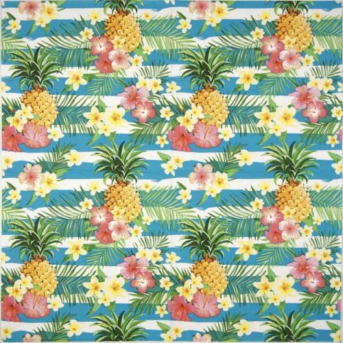 Lunch Napkins (20) - Tropical Flowers and Pineapples on Stripes