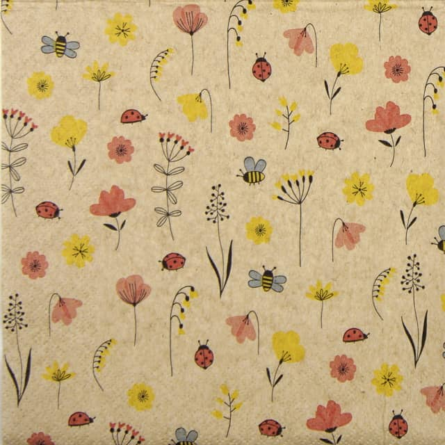 Paper Napkin - Ladybugs and Bees