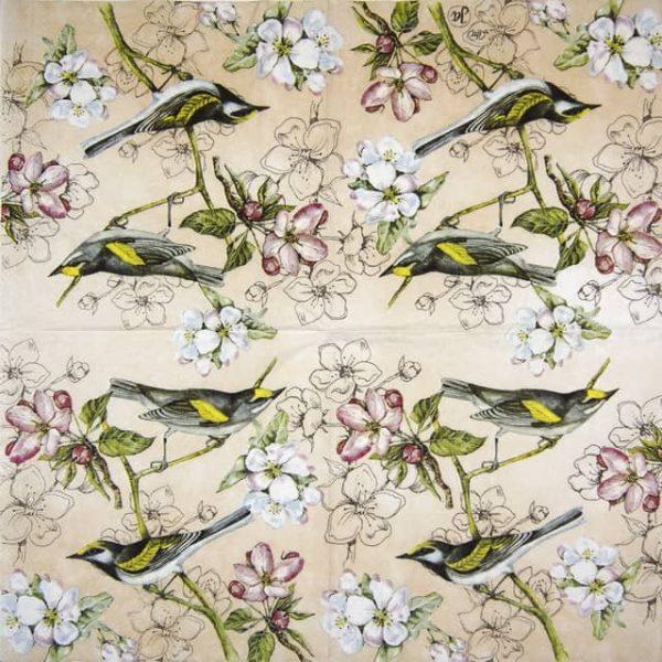 Paper Napkin - Birds Symphony apricot