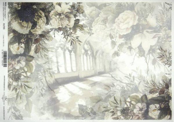 Rice Paper A/3 - Flowers Window  Grey