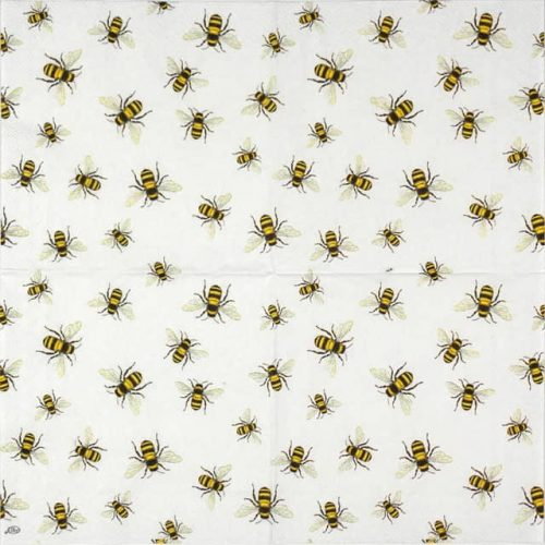 Lunch Napkins (20) - Lovely bees white