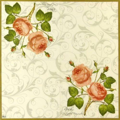 Paper Napkin - Rosa Centifolia White