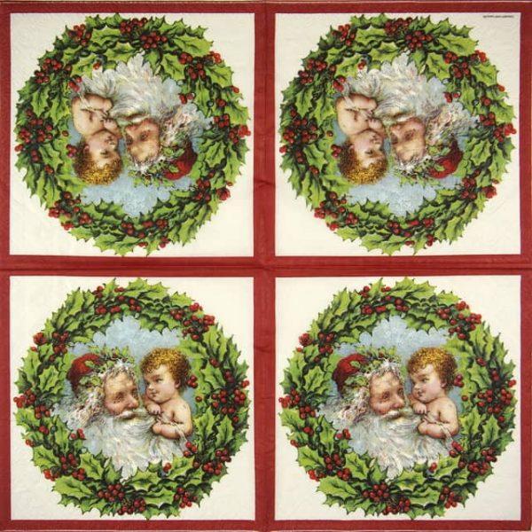 Paper Napkin - Santa with Angel