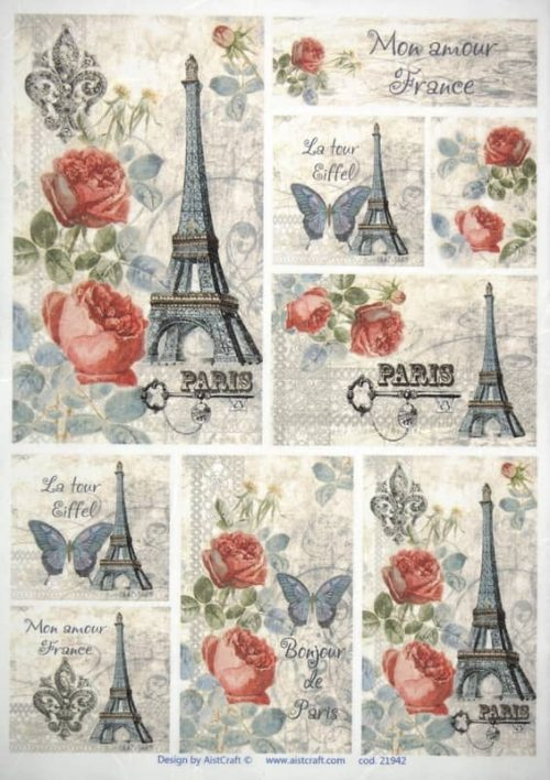 Rice Paper - Vintage Paris & Roses- small