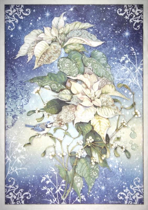 Rice Paper - Poinsettia white
