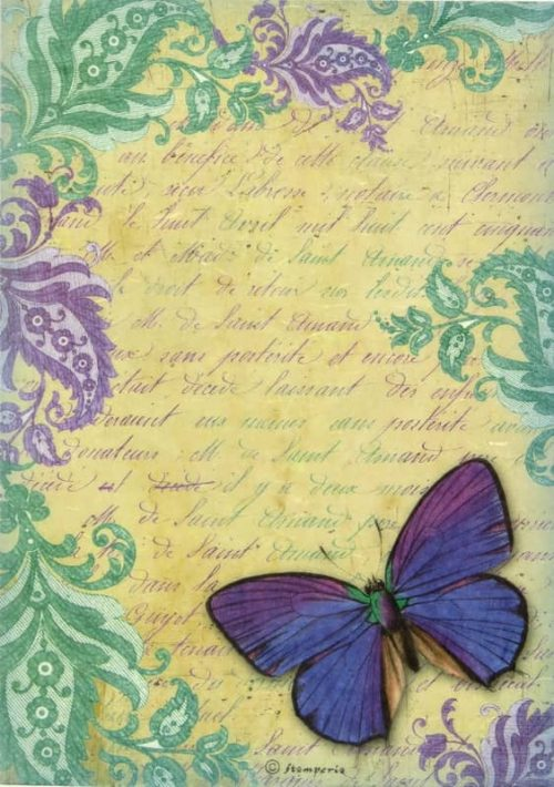 Rice Paper - Letters Purlple Butterfly Stamperia DFSA4023