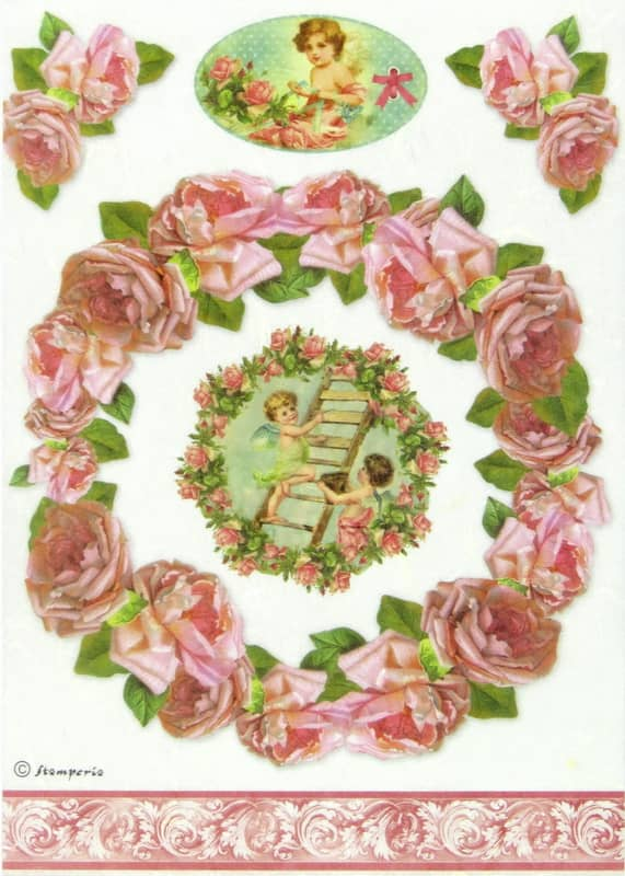 Rice Paper - Bordure Rose and angels