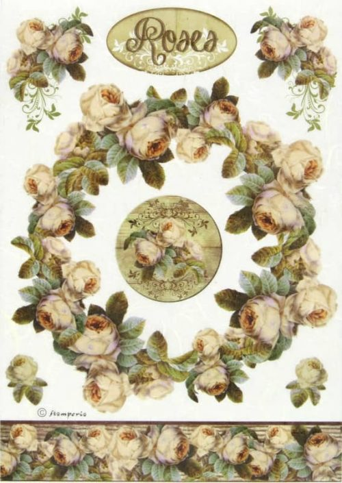 Rice Paper for Decoupage - Roses Bordure