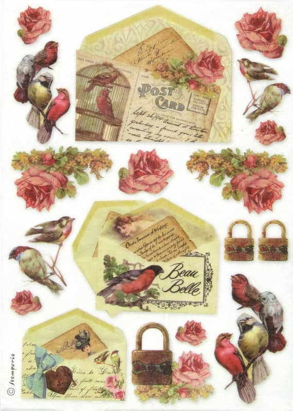 Rice Paper - Post Card with Birds