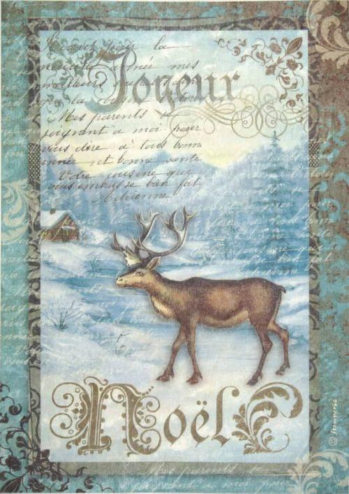 Rice Paper - X-mas Reindeer on blue backround Stamperia DFSA4039