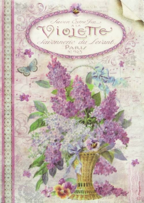 Rice Paper - Violets Stamperia DFSA4101