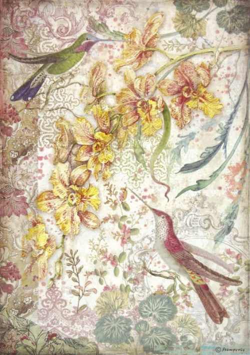 Rice Paper - Yellow orchids and birds