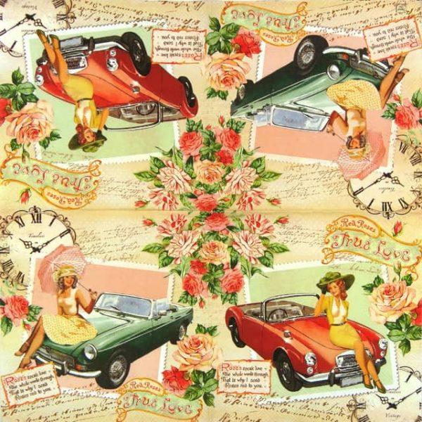 Paper Napkin - True Love Red Roses