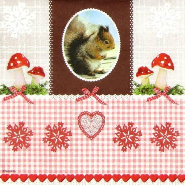Lunch Napkins (20) - Sanmartin: Vintage Squirrel
