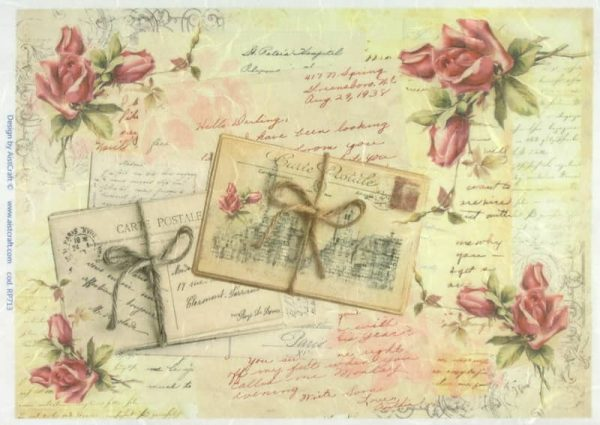 Rice Paper - Old Letter with Roses