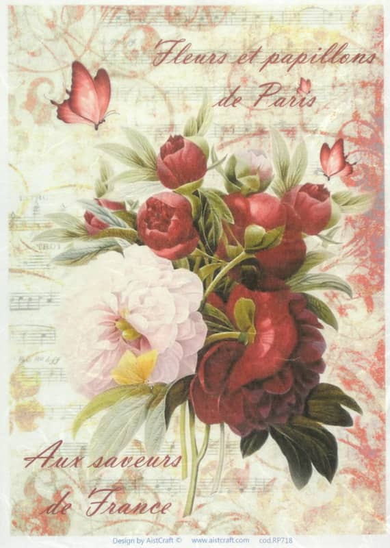 Rice Paper - Red Bouquet
