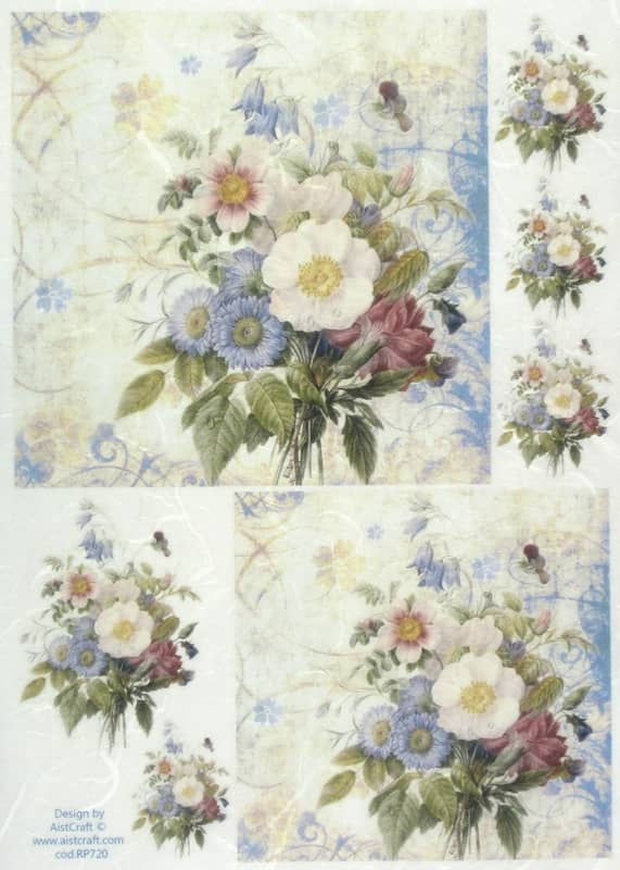 Rice Paper - Blue Bouquet Small