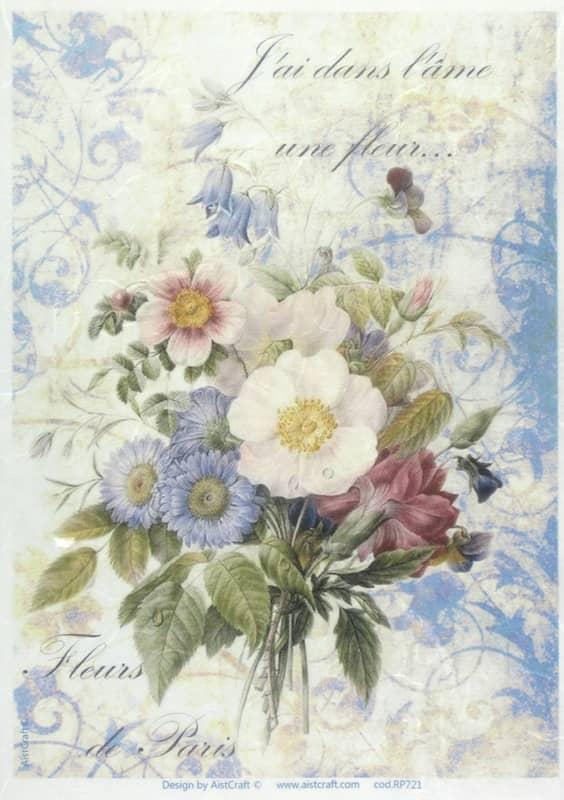 Rice Paper - Blue Bouquet