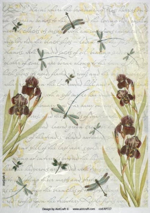 Rice Paper - Yellow Brown Flower Background