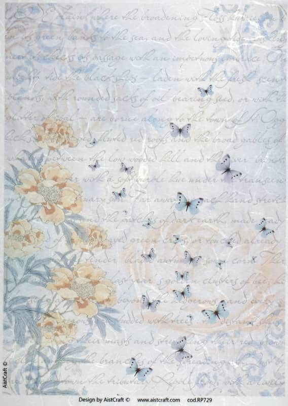 Rice Paper - Blue Orange Flower Background