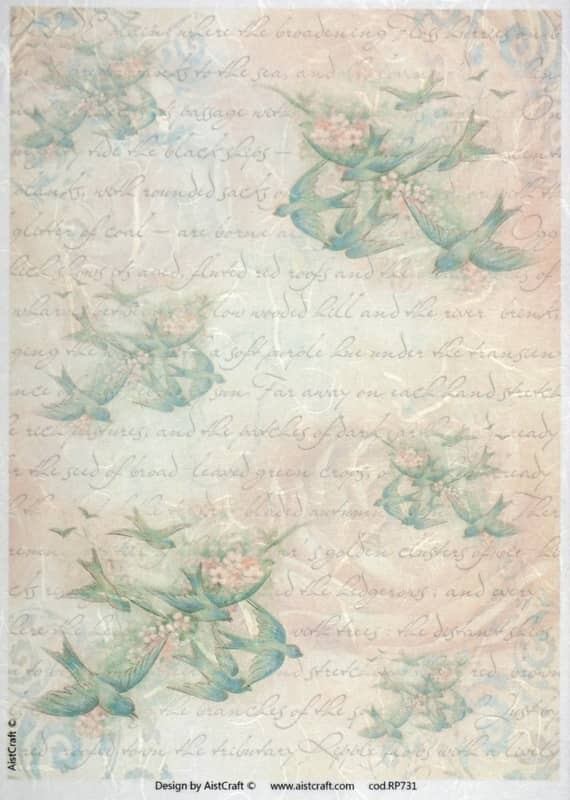 Rice Paper - Green Swallows & Writing