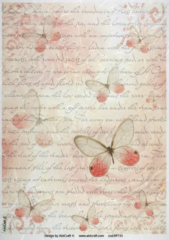 Rice Paper - Red Butterfly & Writing