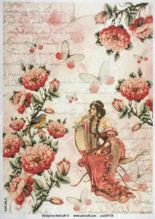 Rice Paper - Red Flower Garden