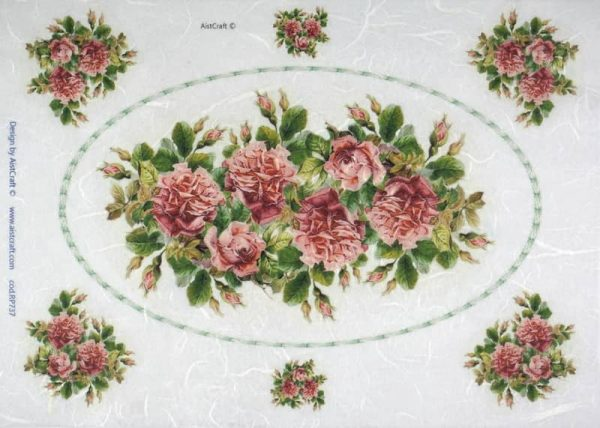 Rice Paper - Red Roses in Frame