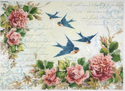 Rice Paper - Swallows and Red Roses
