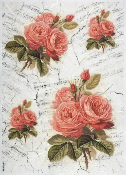 Rice Paper - Red Roses and Note
